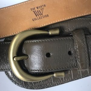 WORTH collection leather olive/brown belt NWOT